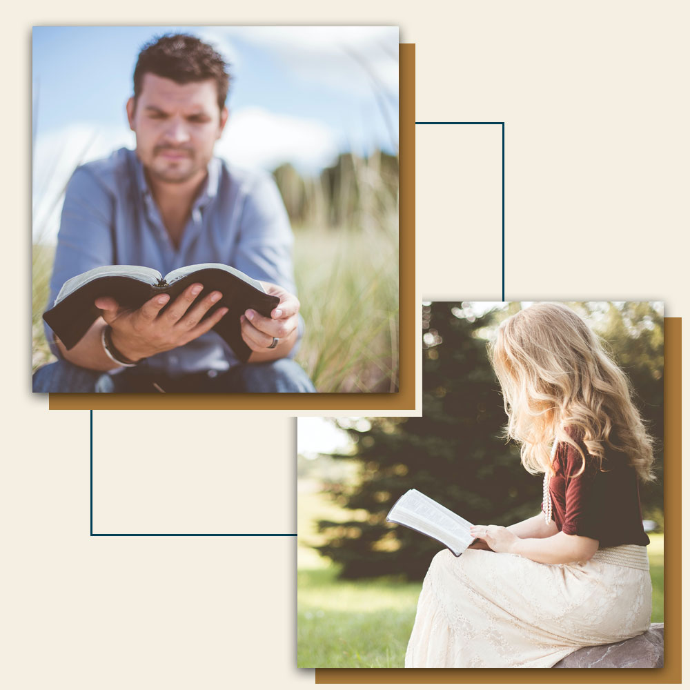 Man and woman reading the Bible